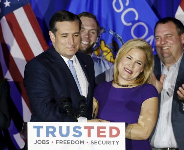U.S. Republican presidential candidate Ted Cruz and his wife Heidi attend a Wisconsin primary night rally at the American Serb Banquet Hall in Milwaukee
