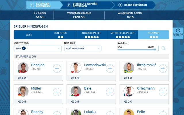 UEFA Fußball-Europameisterschaft 2016 Managerspiel