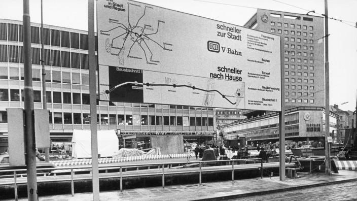 Plan der Abschnitte der S-Bahn-Stammstrecke am Hauptbahnhof um 1966