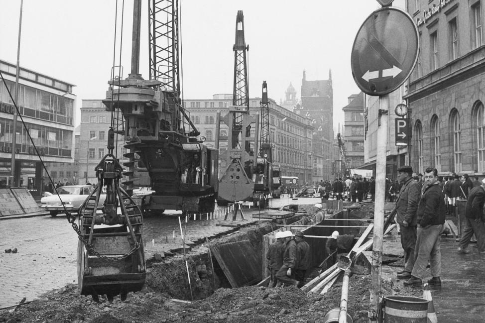 Beginn der Bauarbeiten zur S-Bahn-Stammstrecke am Münchner Hauptbahnhof, 1967