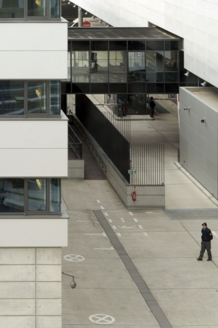 A general view shows entrance gate in north part the compound of the German Federal Intelligence Agency during the opening ceremony of the BND headquarters in Berlin