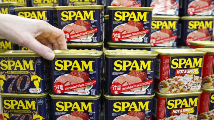 Cans of Spam luncheon meat are displayed at a market in Naha on the southern Japanese island of Okinaw