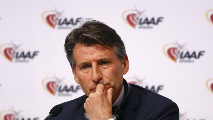 IAAF President Coe attends a news conference after IAAF council meeting in Vienna