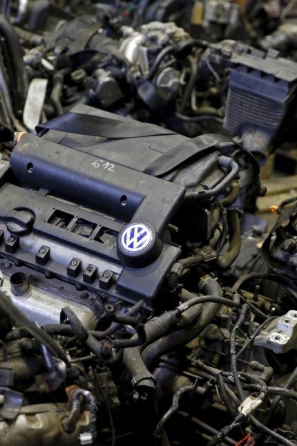 File photo illustration of Volkswagen TDI diesel engines shot at a second-hand car parts business in Jelah