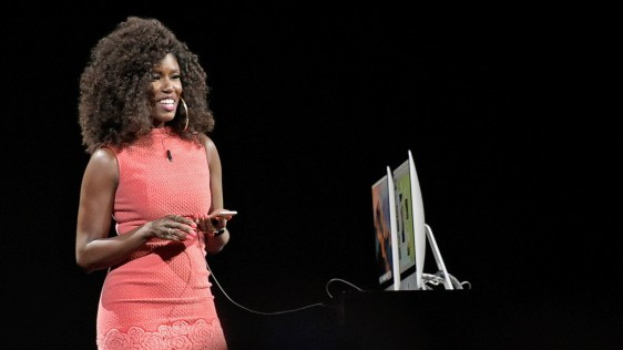Bozoma Saint John demonstrates updates to Apple Music.