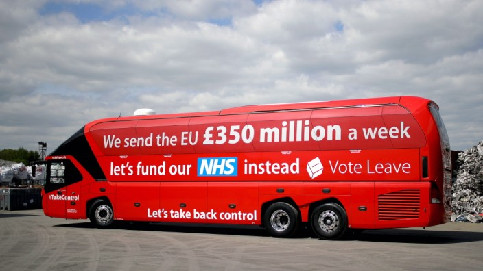Boris Johnson And Gisela Stuart Aboard The Leave Campaign Bus