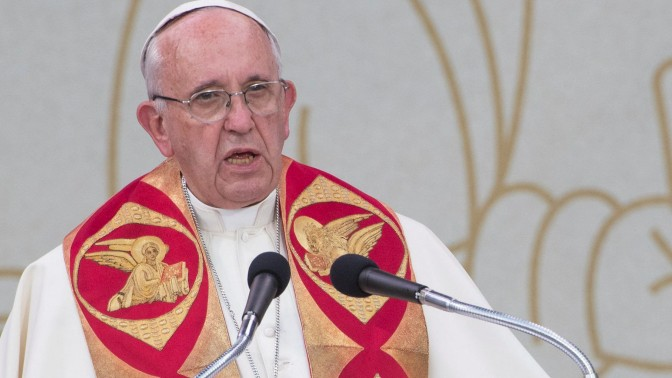Pope Francis talks during an ecumenical service at the Republic Square in Yerevan, Armenia