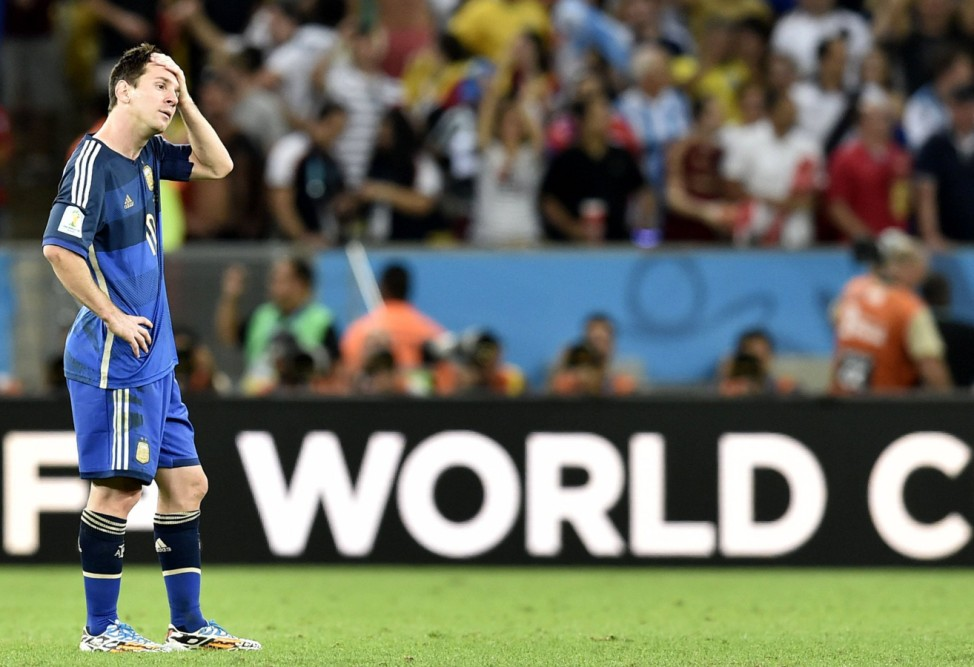 RIO DE JANEIRO July 13 2014 Xinhua Argentina s Lionel Messi reacts after the final match betw