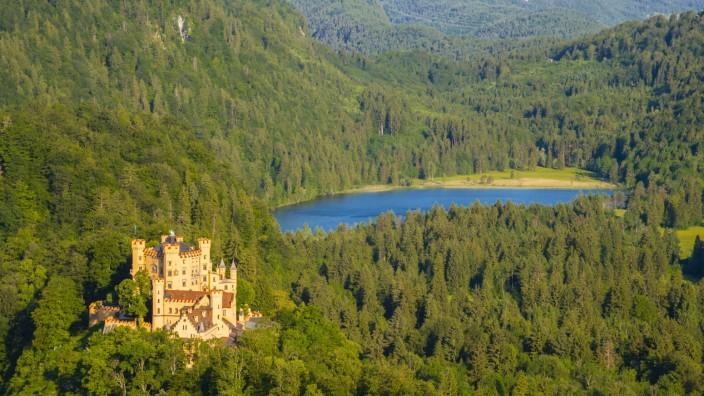 Germany Bavaria Allgaeu East Allgaeu Hohenschangau Neuschwanstein Castle Lake Forggensee in th