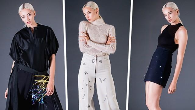 Berlin Fashion Week: Drei Entwürfe des Labels Elektrocouture, das Mode und Technik zusammenbringen will.