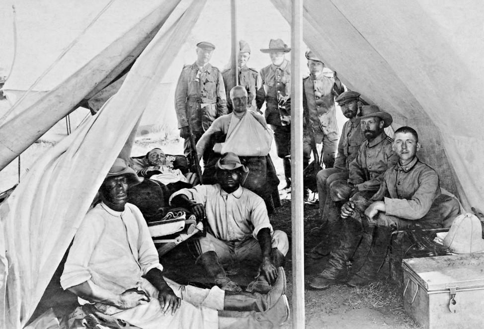 Soldaten der Schutztruppe während des Herero-Aufstandes in Deutsch-Südwestafrika, 1904