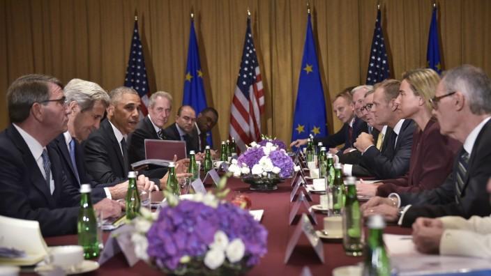 Nato-Gipfel: Vertreter der USA sprechen in Warschau mit den Spitzen der EU.