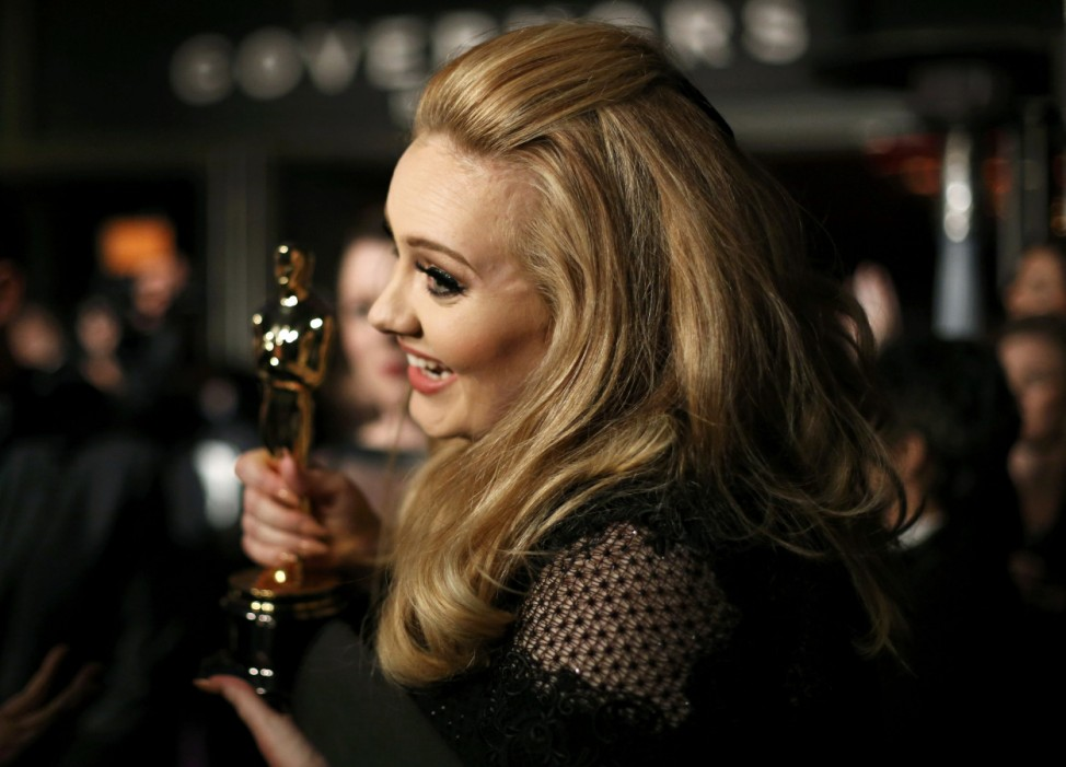 Adele, winner of Best Original Song for film 'Skyfall' is interviewed at the Governors Ball for the 85th Academy Awards in Hollywood, California