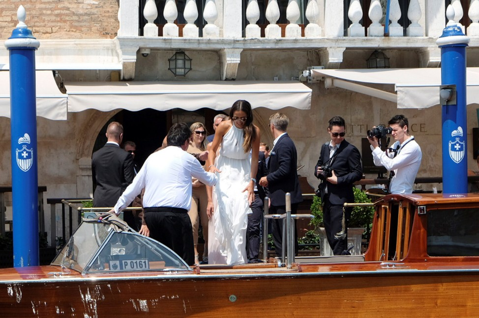 Serbian tennis player Ivanovic boards a boat before the wedding ceremony with German football player Schweinsteiger in Venice