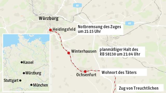Bei Würzburg: Der Zug hielt nach einer Notbremsung in Heidingsfeld bei Würzburg.