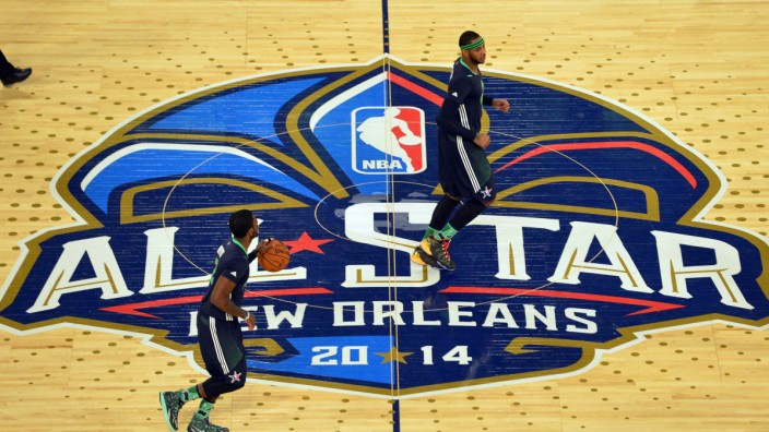 File photo of Eastern Conference Kyrie Irving of the Cleveland Cavaliers brings the ball up court during the 2014 NBA All-Star Game in New Orleans