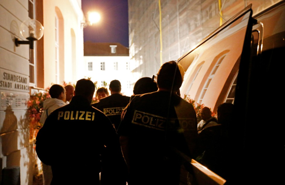 Police secure area after explosion in Ansbach, near Nuremberg,
