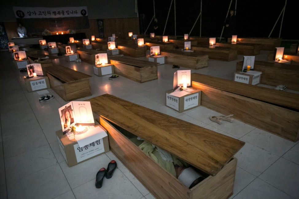 *** BESTPIX *** South Koreans Reflect On Their Lives By Faking Deaths