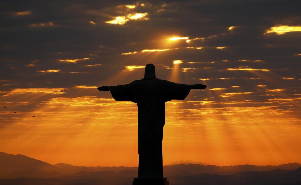 Jesus Christ the Redeemer during sunrise in Rio de Janeiro