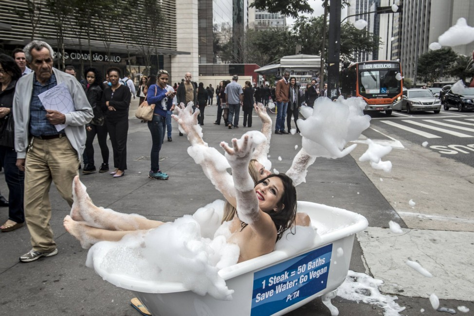 August 2 2016 Sao Paulo Brazil A protester from the People for the Ethical Treatment of Animal
