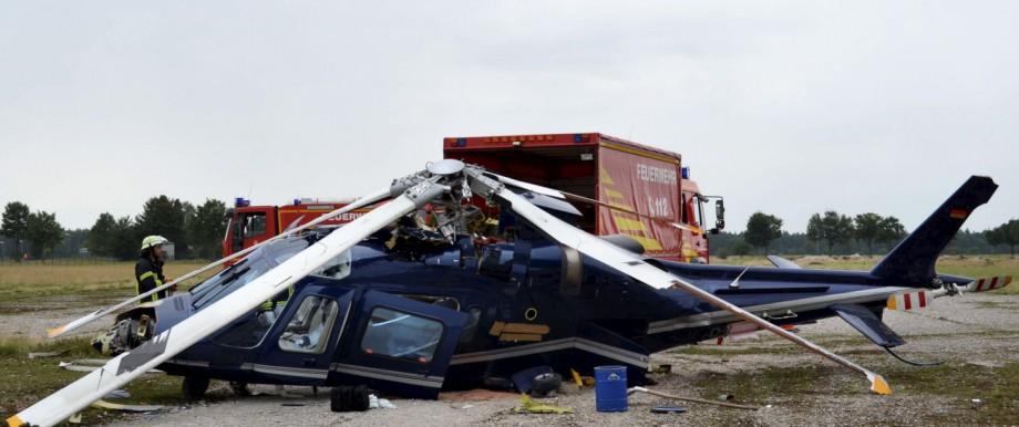 Verletzter und Schaden bei Hubschrauberunfall