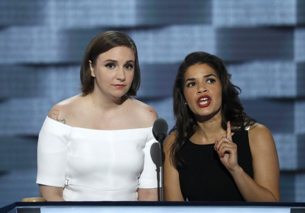 Actresses Dunham and Ferrera speak on stage at the Democratic National Convention in Philadelphia