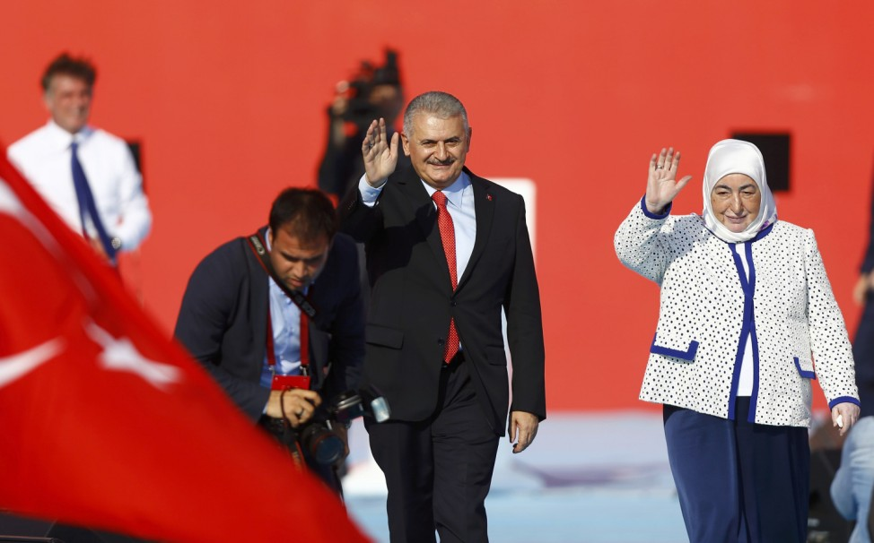 Turkey's Prime Minister and leader of the ruling AK Party Yildirim with wife Semiha attends Democracy and Martyrs Rally in Istanbul