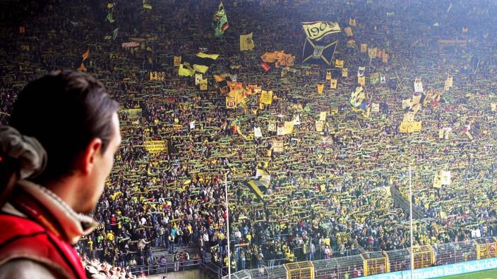 """Fußball: Ein Zuschauer blickt auf die berühmte Dortmunder """"Gelbe Wand"""". Die Stehplätze des BVB gehören deutschlandweit zu den teuersten."""