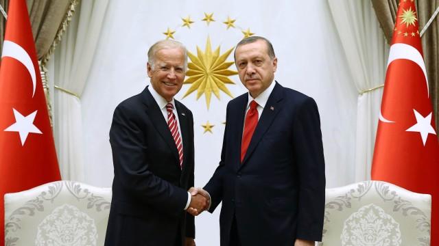 Biden in Ankara: US-Vizepräsident Joe Biden beim Treffen mit dem türkischen Präsidenten Recep Tayyip Erdoğan.