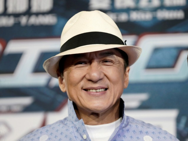 Actor Jackie Chan poses for the cameras at the announcement of the beginning of production for the science fiction action film 'Bleeding Steel' in Sydney