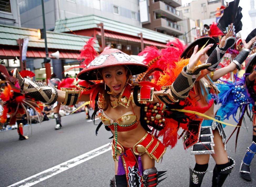 Samba dancers perform during the annual Asakusa Samba Carnival in Tokyo