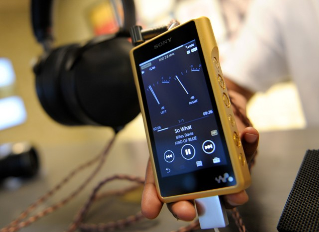 An assistant presents the Sony walkman NW-WM1Z at the IFA Electronics show in Berlin