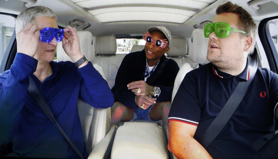 Tim Cook, James Corden and Pharrell comedy bit during an Apple media event in San Francisco