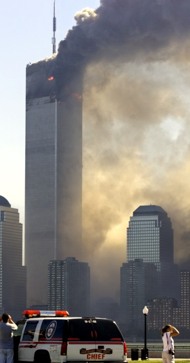 NEW YORK'S WORLD TRADE CENTER TOWER BURNS