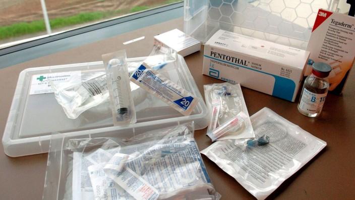 Sterbehilfe: Medikamente eines Euthanasie-Sets in Belgien