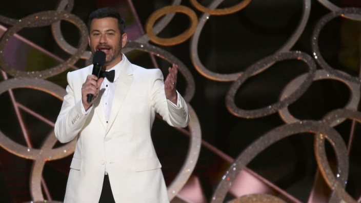 Host Jimmy Kimmel closes the show at the 68th Primetime Emmy Awards in Los Angeles