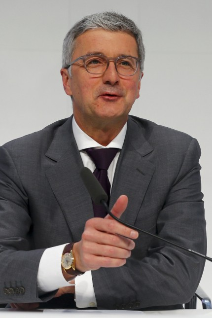 Audi Chief Executive Officer Rupert Stadler addresses the company's annual news conference in the Bavarian city of Ingolstadt