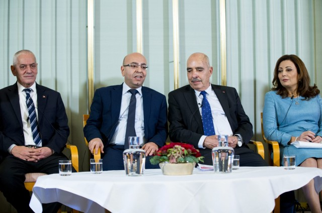 The 2015 Nobel Peace Prize laureates, Tunisian National Dialogue Quartet members attend a press conference in Oslo