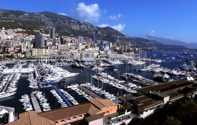 Luxury boats are seen in Monte Carlo port during the 26th Monaco Yacht show
