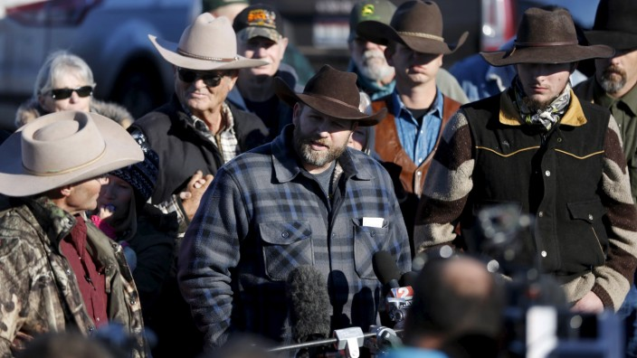 Leader of a group of armed protesters Ammon Bundy talks to the media at the Malheur National Wildlife Refuge near Burns, Oregon