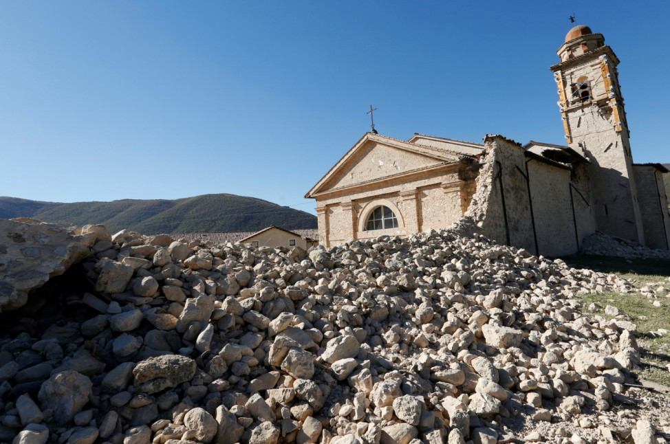 The church of the Madonna of the Angels is seen partially collapsed following an earthquake along the road to Norcia