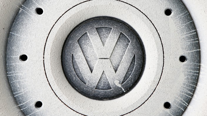 A Volkswagen logo is seen on the wheel of a car in Grafenwoehr