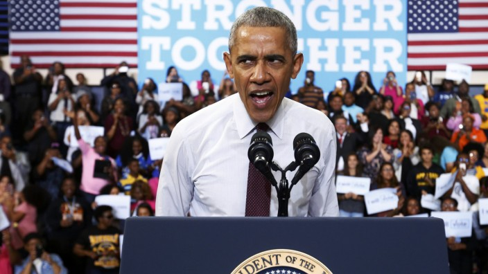 U.S. President Obama takes the stage at a Hillary for America campaign event in Fayetteville, North Carolina
