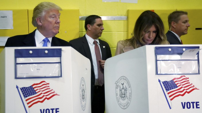Republican presidential nominee Donald Trump and his wife Melania Trump vote at PS 59 in New York