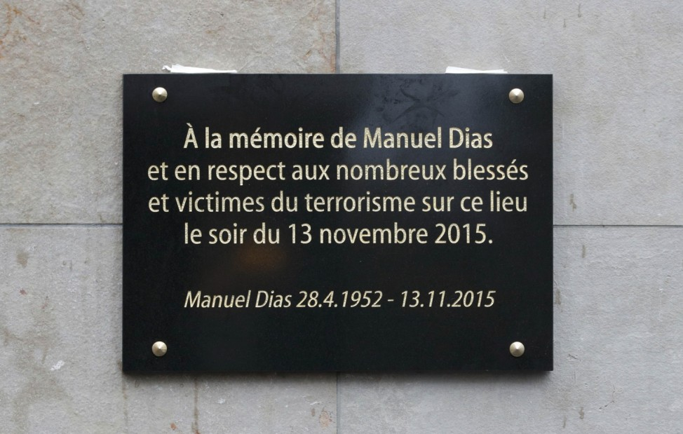 A commemorative plaque unveiled by French President Hollande and Saint-Denis Mayor Paillard is seen outside the Stade de France stadium in Saint-Denis
