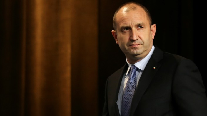 Presidential candidate of the Bulgarian Socialist Party Rumen Radev arrives for a news conference in Sofia