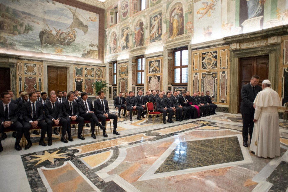 Pope Francis attends a private audience with German national soccer team at the Vatican