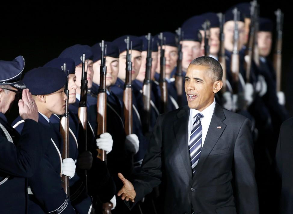 U.S President Barack Obama arrives at theTegel airport in Berlin