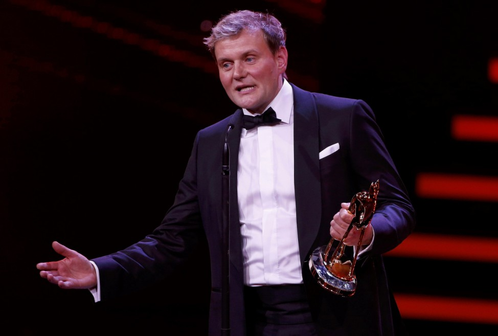 Actor Striesow receives the Best Actor National award during the Bambi 2016 media awards ceremony in Berlin