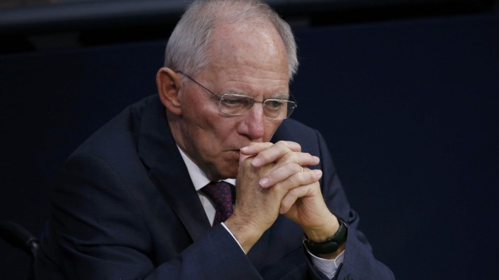 German Finance Minister Schaeuble attends a meeting at the lower house of parliament Bundestag on 2017 budget in Berlin